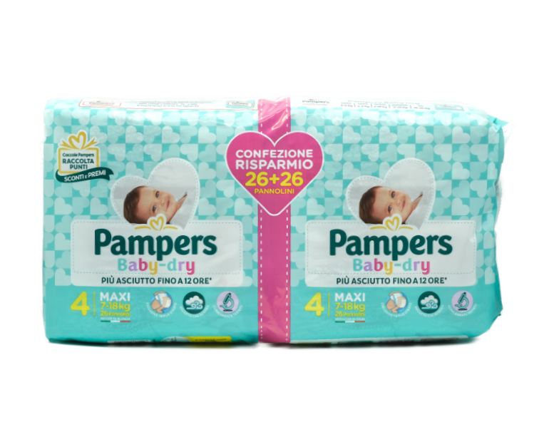52 PAMPERS BABY DRY  MAXI PACCO DOPPIO
