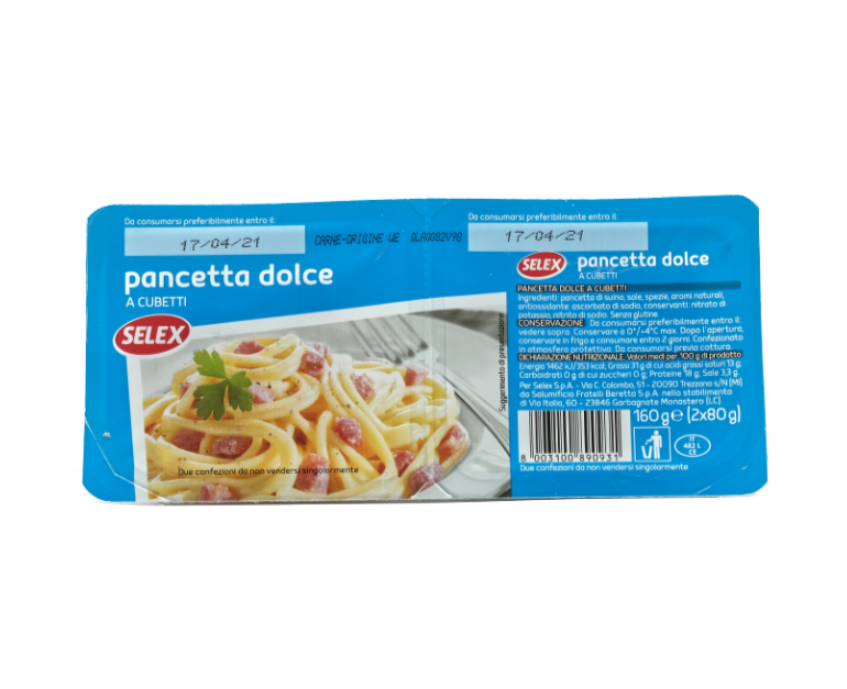 PANCETTA DOLCE CUB. 2X80 SELEX